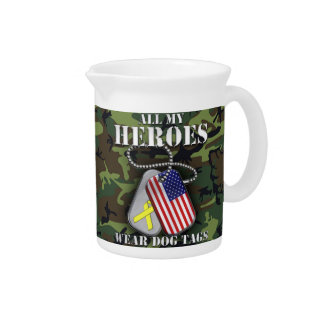 All My Heroes Wear Dog Tags - Camo Pitcher