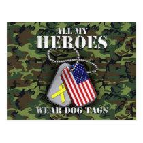 All My Heroes Wear Dog Tags - Camo Postcard
