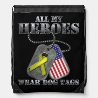All My Heroes Wear Dog Tags Drawstring Bag