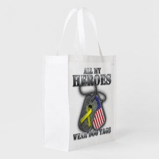 All My Heroes Wear Dog Tags Grocery Bag