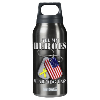 All My Heroes Wear Dog Tags Insulated Water Bottle