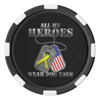 All My Heroes Wear Dog Tags Set Of Poker Chips