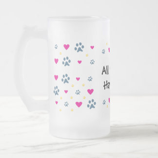All My Kids-Children Have Paws Frosted Glass Beer Mug