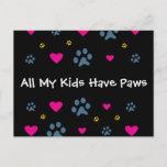 All My Kids-Children Have Paws Postcard