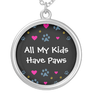 All My Kids-Children Have Paws Round Pendant Necklace