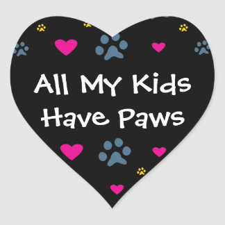 All My Kids-Children Have Paws Heart Sticker