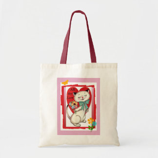 All My Love Valentine Cool Cat Canvas Tote Bag