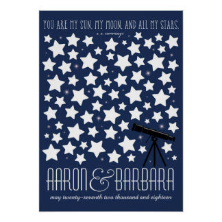 All My Stars Custom Wedding Guestbook Poster 20x28