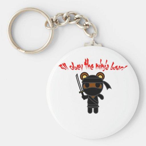 All Obey the Ninja Bear Basic Round Button Keychain