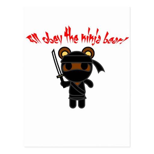 All Obey the Ninja Bear Postcard