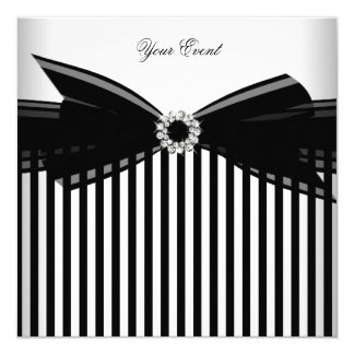 All Occasion Black Bow White Stripe Party Card