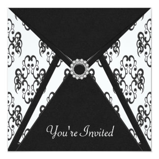 All Occasion Black Damask Party Card