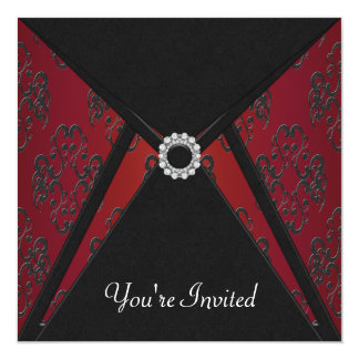 All Occasion Black Damask Red Invitation Template