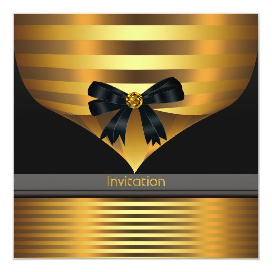 all occasion black gold party invitation template zazzle com