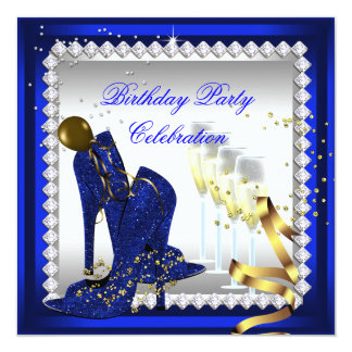 All Occasion Champagne Royal Blue Heels Gold Party Card