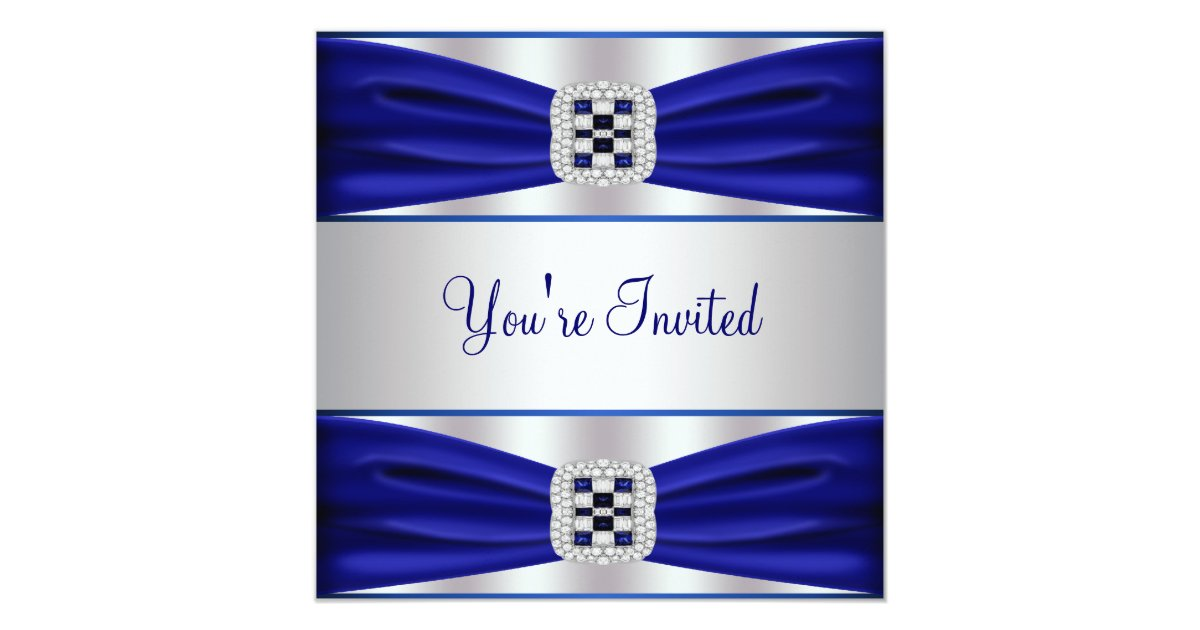 Cobalt Blue Wedding Invitations: All Occasion Cobalt Blue Party Invitation Template