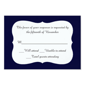 All Occasion Elegant Navy and White Response Card