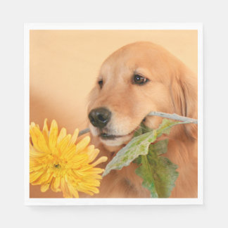 All Occasion Golden Retriever Dog With Flower Paper Napkin