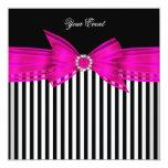 "All Occasion Hot Pink Black White Stripe Party 5.25"" Square Invitation Card"