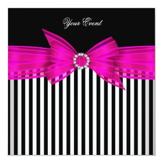 All Occasion Hot Pink Black White Stripe Party Custom Invite