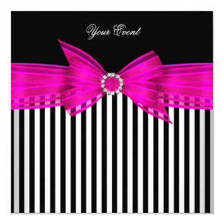 All Occasion Hot Pink Black White Stripe Party 5.25x5.25 Square Paper Invitation Card