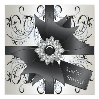 "All Occasion Ivory Blue Black Party Invitation 5.25"" Square Invitation Card"