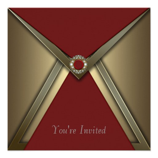 All Occasion Red Gold Invitation Template