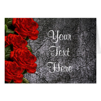 All Occasion Red Rose Black Leather Greeting Card