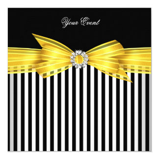 All Occasion Yellow Black White Stripe Party Card