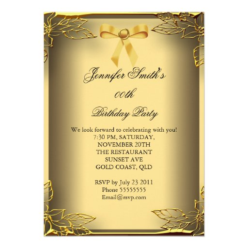 all occasions elite elegant party gold damask 5x7 paper invitation card