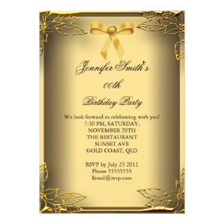 All Occasions Elite Elegant Party Gold Damask Custom Invites