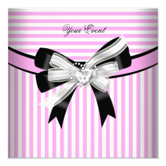 All Occasions Pink Black White Stripe Party (2) Card