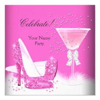 All Occasions Pink Margarita High Heels Party 5.25x5.25 Square Paper Invitation Card