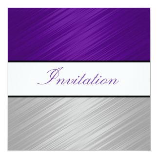 All Occasions Purple Silver Stripes Party 5.25x5.25 Square Paper Invitation Card