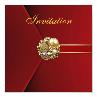 All Occasions Rich Red Velvet Gold Image 5.25x5.25 Square Paper Invitation Card