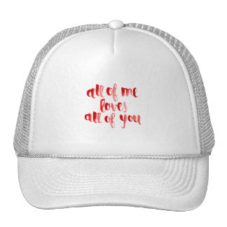 ALL OF ME LOVES ALL OF YOU FLIRTING SAYINGS EXPRES TRUCKER HAT
