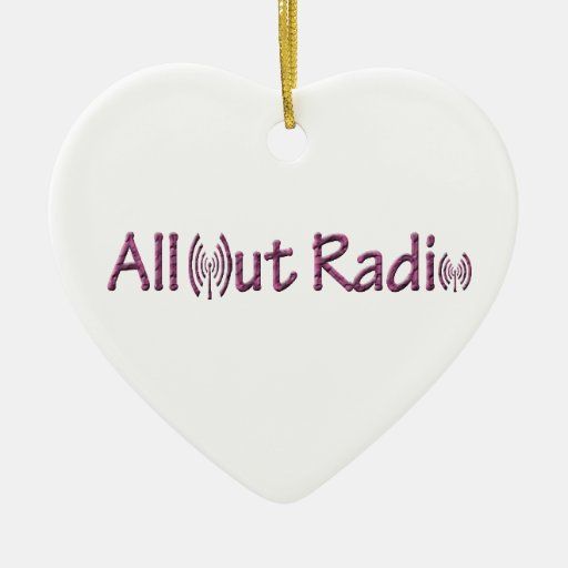 All Out Radio Merch/ Apparel Double-Sided Heart Ceramic Christmas Ornament
