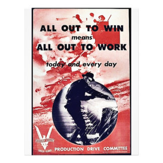 All Out To Win Means All Out To Work Flyer Design