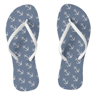 All Over Anchor Pattern Flip Flops