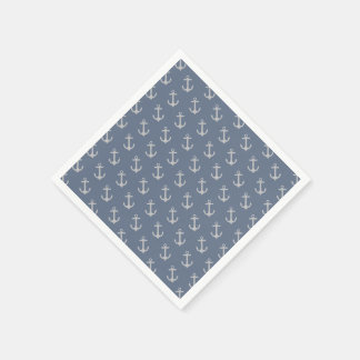 All Over Anchor Pattern Paper Napkin Standard Cocktail Napkin