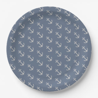 All Over Anchor Pattern Paper Plate 9 Inch Paper Plate