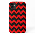 All Over Chevron Print Red and Black Zig Zags iPhone 11 Case