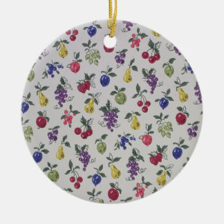 All Over Fruits wallpaper, 1945-1955 Double-Sided Ceramic Round Christmas Ornament