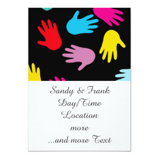 all over hands 5x7 paper invitation card