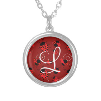 All Over Ladybug Design Print Silver Plated Necklace