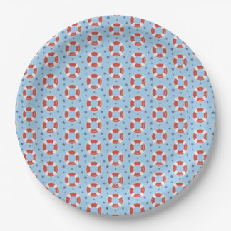All Over Life Buoys Pattern Paper Plate 9 Inch Paper Plate