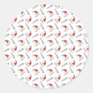 All Over Little Boats Pattern Sticker Round Sticker