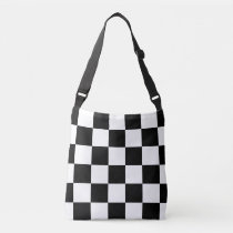All-Over-Print Black and White Checkered Pattern Crossbody Bag