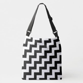 All-Over-Print Black and White Diagonal Zigzags