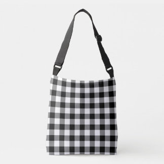 All-Over-Print Black and White Gingham Pattern Crossbody Bag